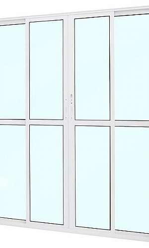Porta balcão de alumínio branco 4 folhas